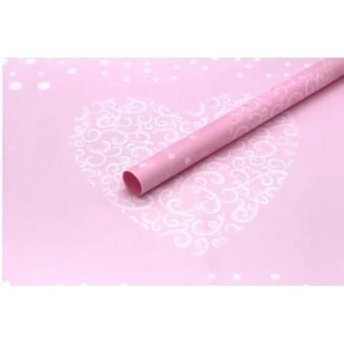 """Пленка матовая корейская """"сердце"""" 60см*60см, 20шт. в уп. (цвет розовый)"""