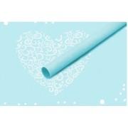 """Пленка матовая корейская """"сердце"""" 60см*60см, 20шт. в уп. (цвет голубой)"""