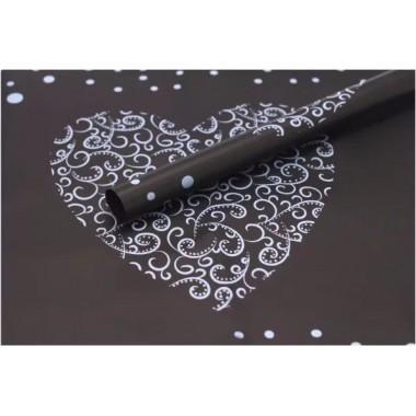 """Пленка матовая корейская """"сердце"""" 60см*60см, 20шт. в уп. (цвет черный)"""