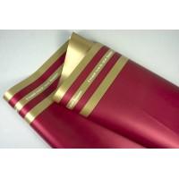 """Пленка матовая DUOMAT """"три полосы"""", ( цвет красный/золотой) 58см*10м, 65мкм"""