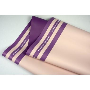 """Пленка матовая DUOMAT """"три полосы"""", ( цвет пудровый/фиолетовый) 58см*10м, 65мкм"""
