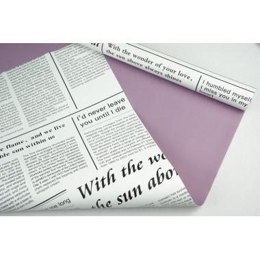 "Пленка матовая DUOMAT ""цветочная газета"", (цвет сиреневый) 58см*10м, 60мкм"