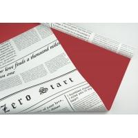 """Пленка матовая DUOMAT """"цветочная газета"""", (цвет красный) 58см*10м, 60мкм"""