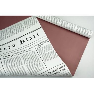 "Пленка матовая DUOMAT ""цветочная газета"", (цвет пепельно-розовый) 58см*10м, 60мкм"