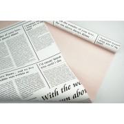 """Пленка матовая DUOMAT """"цветочная газета"""", (цвет пудровый) 58см*10м, 60мкм"""