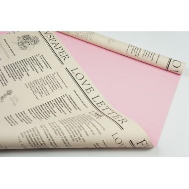 """Пленка матовая DUOMAT """"цветочная газета"""",58см*10м,60 мкм ( цвет розовый)"""