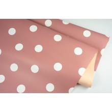 """Пленка матовая DUOMAT """"горох"""", (цвет пепельно-розовый/песочный) 58см*10м, 65мкм"""