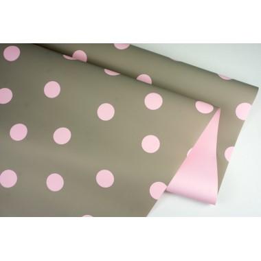 """Пленка матовая DUOMAT """"горох"""", (цвет серый/розовый) 58см*10м, 65мкм"""