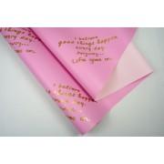 """Пленка матовая DUOMAT """"текст"""", (цвет ярко-розовый/розовый), 58см*10м, 65мкм"""