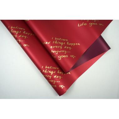 """Пленка матовая DUOMAT """"текст"""", (цвет бордовый/сливовый), 58см*10м, 65мкм"""