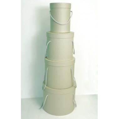 Шляпная коробка (набор 4 штуки (серый) , размер 14*18,5см, 18*19см, 19*22см, 25*20,5см)