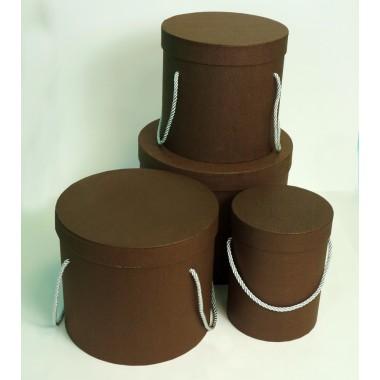 Шляпная коробка (набор 4 штуки (коричневый) , размер 14*18,5см, 18*19см, 19*22см, 25*20,5см)