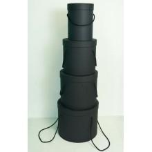 Шляпная коробка (набор 4 штуки (черный) , размер 14*18,5см, 18*19см, 19*22см, 25*20,5см)