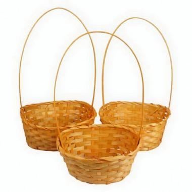 Корзина плетеная (бамбук), набор 3 штуки, 22х18х10/34см,24х19хh10/36см,27х21х10/38см, цвет оранжевый