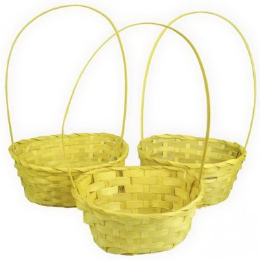 Корзина плетеная (бамбук), набор 3 шт., 22*18*10*34см,24*19*10*36см,27*21*10*38см, цвет желтый
