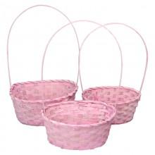 Корзина плетеная (бамбук), набор 3 шт., 22*18*10*34см,24*19*10*36см,27*21*10*38см, цвет розовый