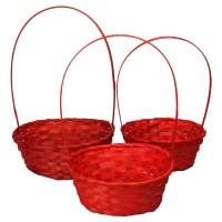 Корзина плетеная (бамбук), набор 3 шт., 22*18*10*34см,24*19*10*36см,27*21*10*38см, цвет красный