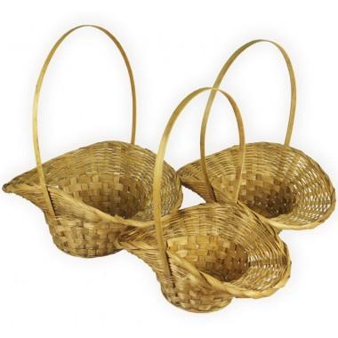 Корзина плетеная (бамбук), набор 3 штуки,30х13х15/36см,34x14x15/38см,36x15x16/39см, цвет коричневый