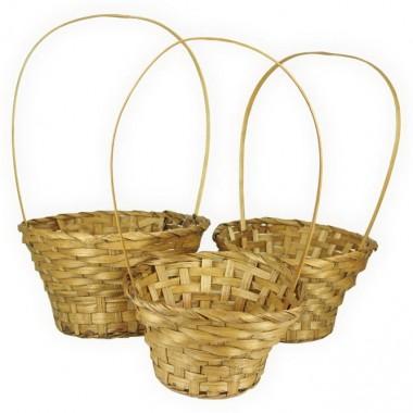 Корзина плетеная (бамбук), набор 3 штуки, d20хh11/35см,d22xh12/37см,d26xh13/38см, цвет коричневый