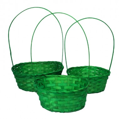 Корзина плетеная (бамбук), набор 3 шт., 22*18*10*34см,24*19*10*36см,27*21*10*38с, цвет темно-зеленый