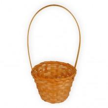Корзина плетеная (бамбук), d13хh9.5/28см, цвет оранжевый