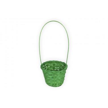 Корзина плетеная из бамбука, d13хh9.5/28см, цвет зеленый