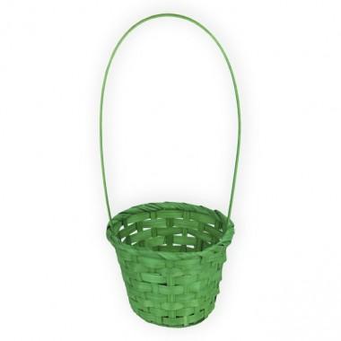 Корзина плетеная (бамбук), d13хh9.5/28см, цвет темно-зеленый