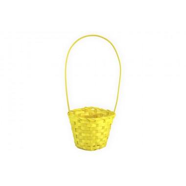 Корзина плетеная (бамбук), d13хh9.5/28см, цвет желтый