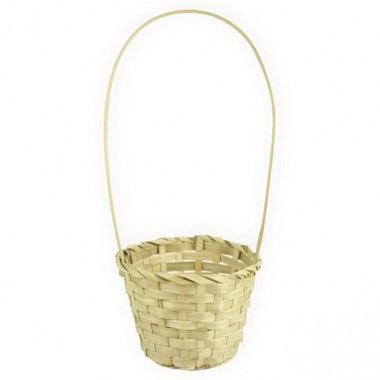 Корзина плетеная (бамбук), d13хh9.5/28см, цвет натуральный
