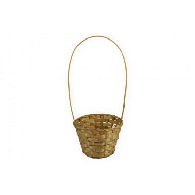 Корзина плетеная (бамбук), d13хh9.5/28см, цвет коричневый
