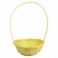 Корзина плетеная (бамбук), d19хh5х31см, цвет желтый