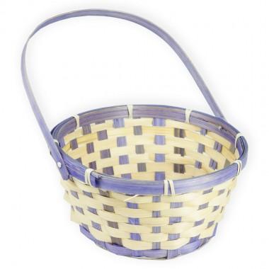 Корзина плетеная (бамбук) с откидной ручкой, 21*10*24см, цвет фиолетовый