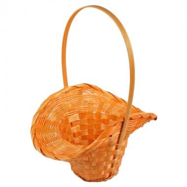Корзина плетеная (бамбук), d21/13хh14/29см, цвет оранжевый