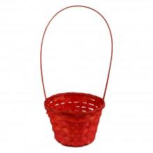 Корзина плетеная (бамбук), d13хh9.5/28см, цвет красный