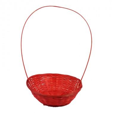 Корзина плетеная (бамбук), d19хh5х31см, цвет красный