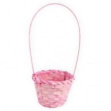 Корзина плетеная (бамбук), d13хh9.5/28см, цвет розовый