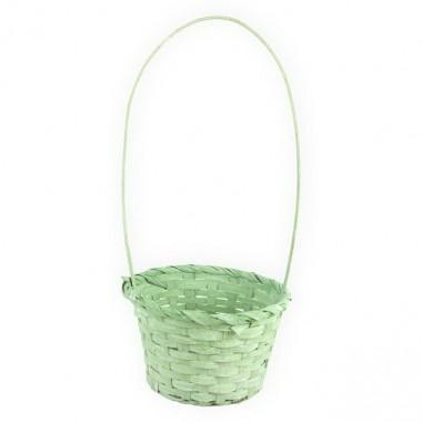 Корзина плетеная (бамбук), d13хh9.5/28см, цвет зеленый