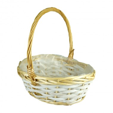 Корзина плетеная (ива) лукошко, 30*23*11*31см, цвет натуральный/белый