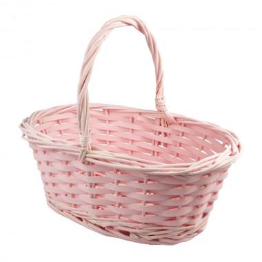 Корзина плетеная (ива) овальная, 30*21*12*25см, цвет розовый
