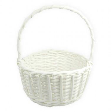 Корзина плетеная (ива), d22*11/27см, цвет белый