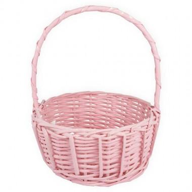 Корзина плетеная (ива), d22*11/27см, цвет розовый