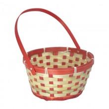 Корзина плетеная (бамбук) с откидной ручкой, 21*10*24см, цвет красный