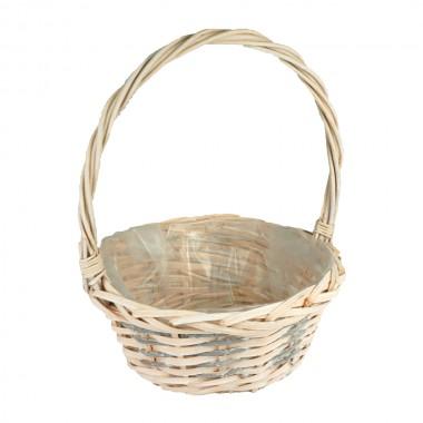 Корзина плетеная (ива) круглая, 25*12*30см, цвет персиковый