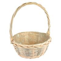 Корзина плетеная (ива) круглая, 30*13*35см, цвет персиковый