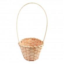 Корзина плетеная (бамбук), d13хh9.5/28см, цвет персиковый