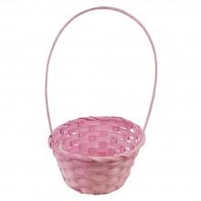 Корзина плетеная (бамбук) круглая, 19*9*32см, цвет розовый