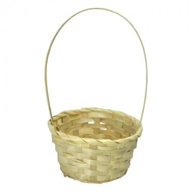 Корзина плетеная (бамбук) круглая, 19*9*32см, цвет натуральный