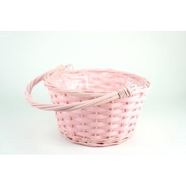 Корзина плетеная (ива) с откидной ручкой, 22*22*12см, цвет розовый