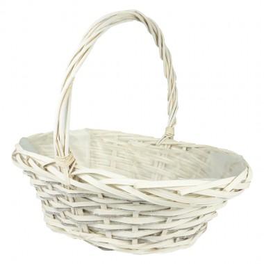 Корзина плетеная (ива) лукошко, 39*30*14*36см, цвет белый