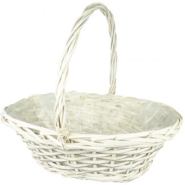Корзина плетеная (ива) лукошко, 46*35*15,5*40см, цвет белый